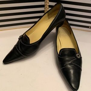 Cole Haan Black Leather Pointed Toe Skimmers Sz 9